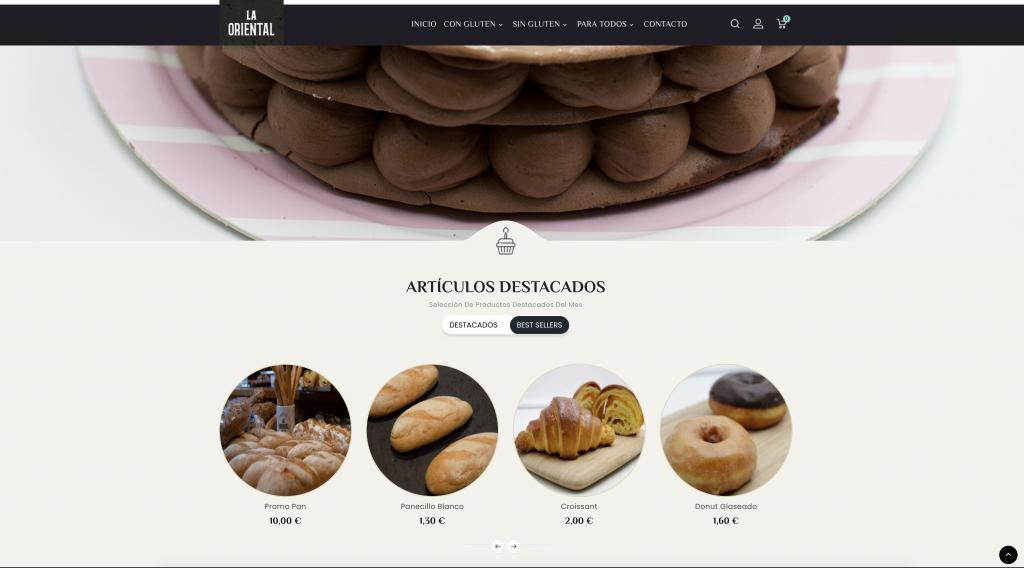 Ejemplo de tendencias en diseño web: Pastelerías La Oriental